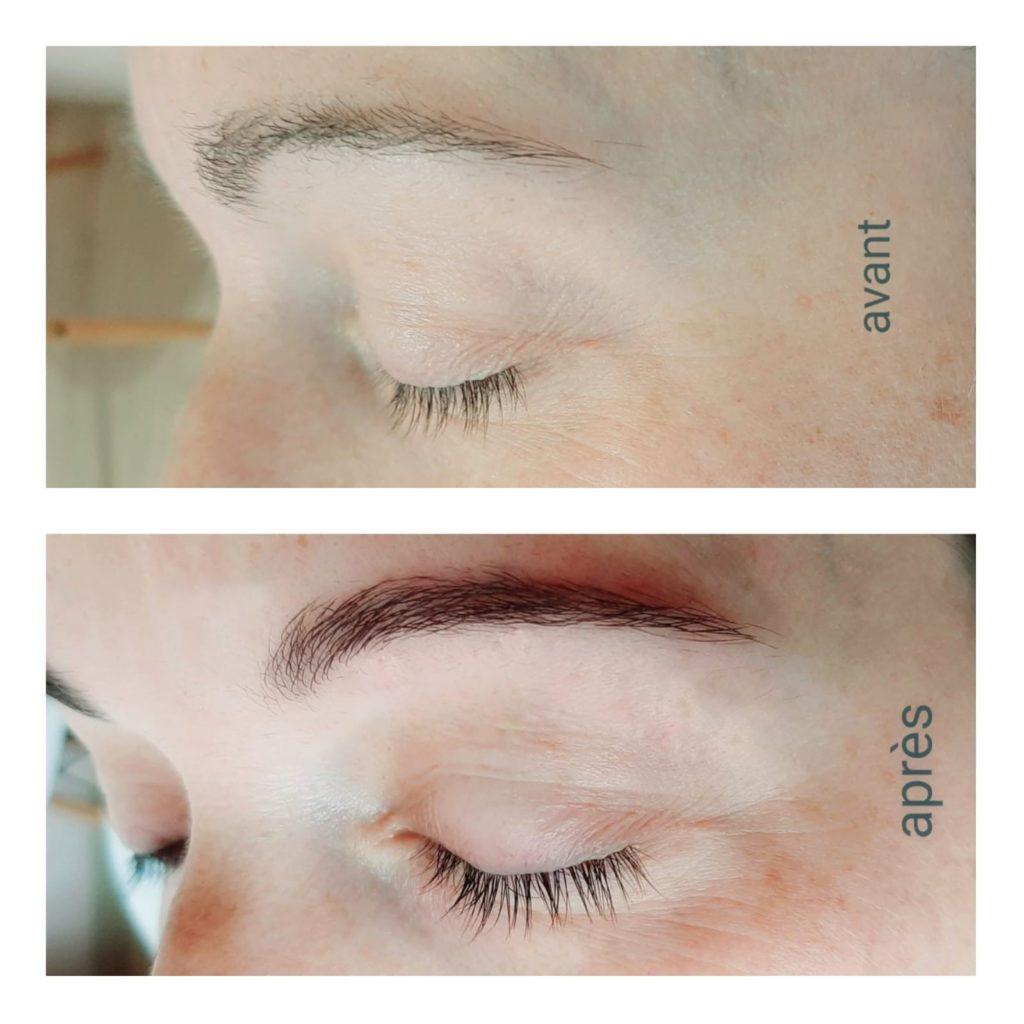 coloration des sourcils sur une cliente avec un avant / après avec le résultat de sourcils plus dense